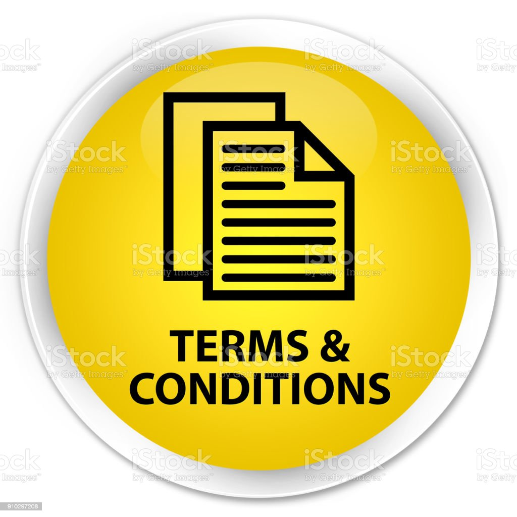 Terms And Conditions Premium Yellow Round Button Stock Vector Art