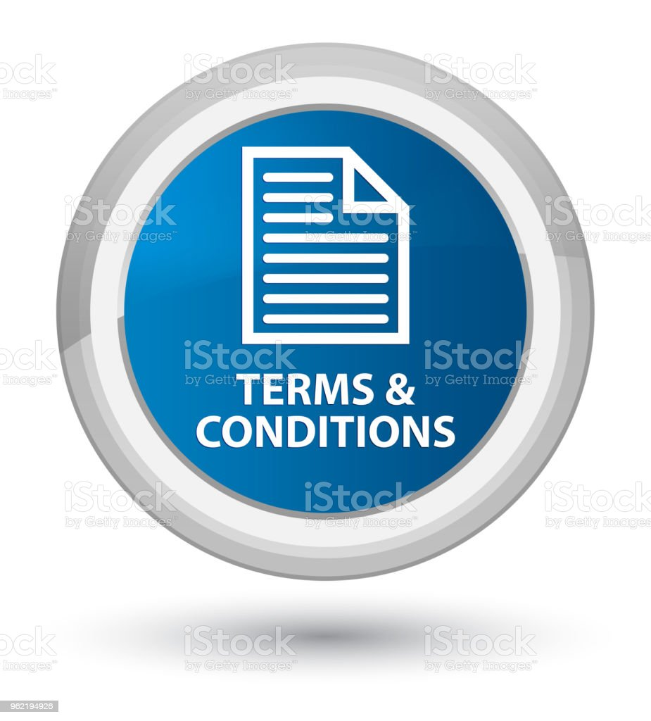 Terms and conditions (page icon) prime blue round button vector art illustration
