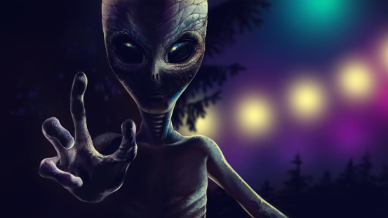 Terrible alien is reaching out to grab you. 2D art
