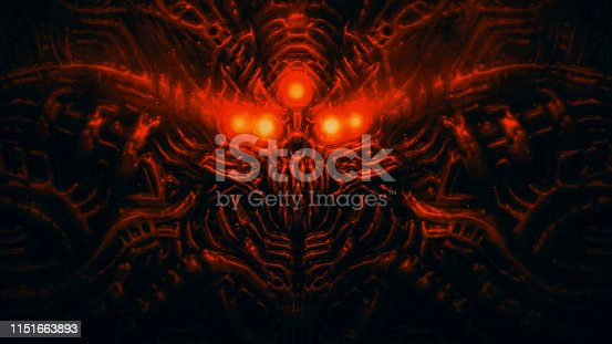 istock Terrible skull head of cybernetic organism with wires Red color 1151663893