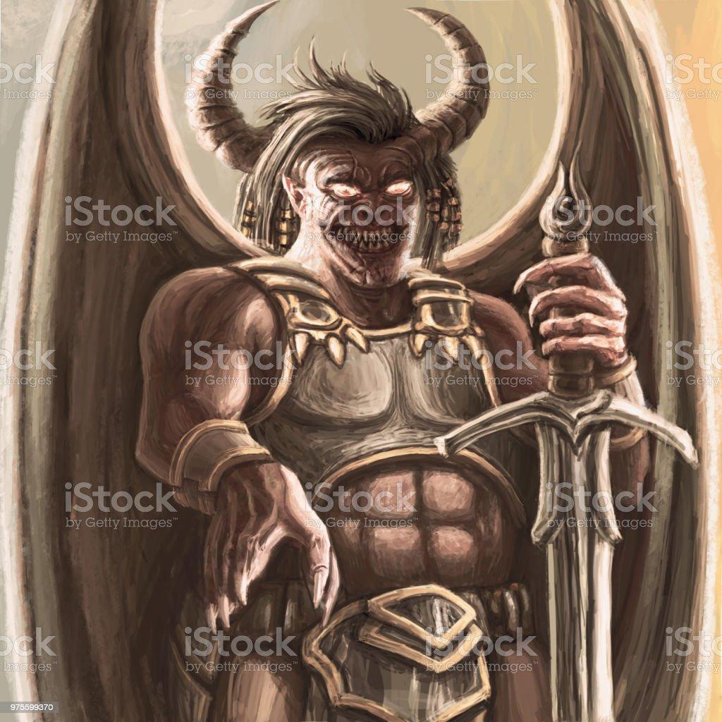 大剣と鎧でひどい翼のある悪魔 おとぎ話のベクターアート素材や画像を