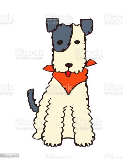 Terrier Dog With Red Bandana Wrapped Around His Neck - Arte vetorial de stock e mais imagens de Amizade