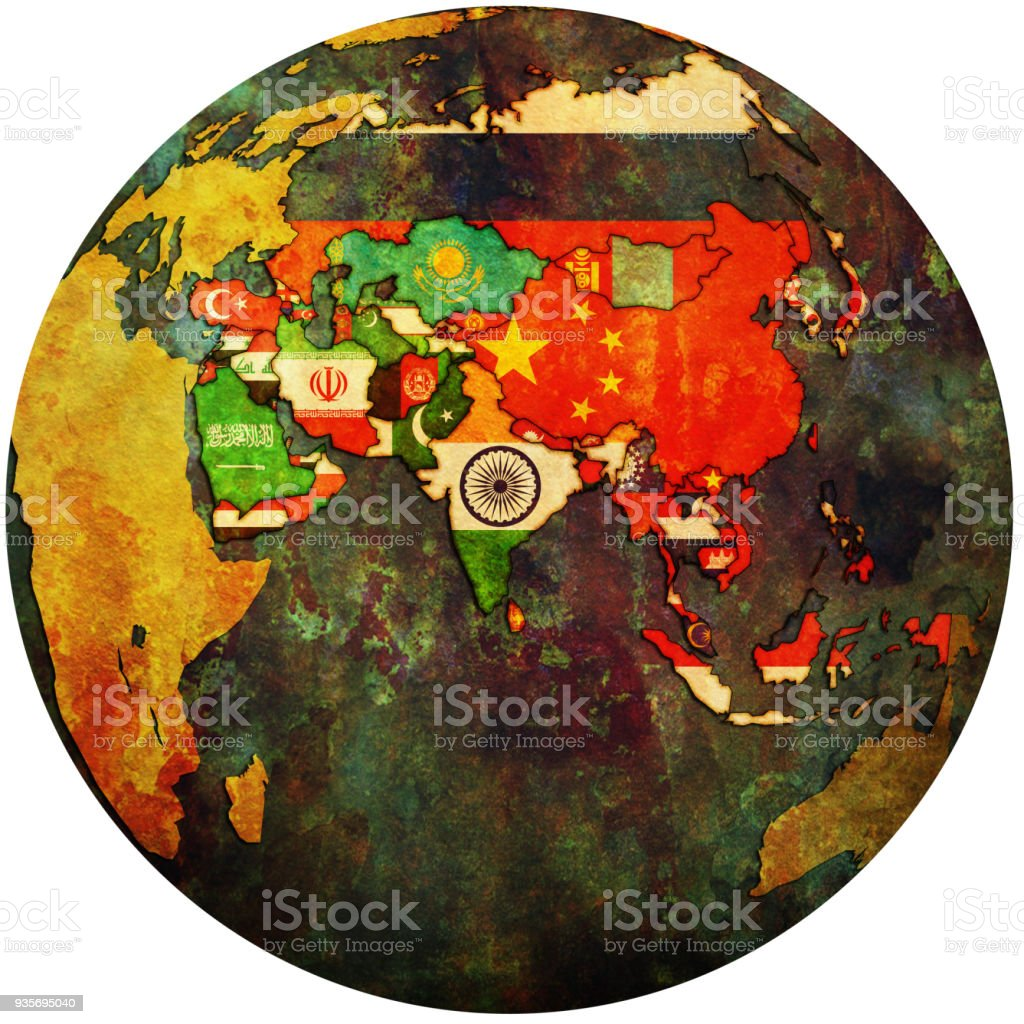 territories of asian countries with flags on globe map royalty free territories of asian countries