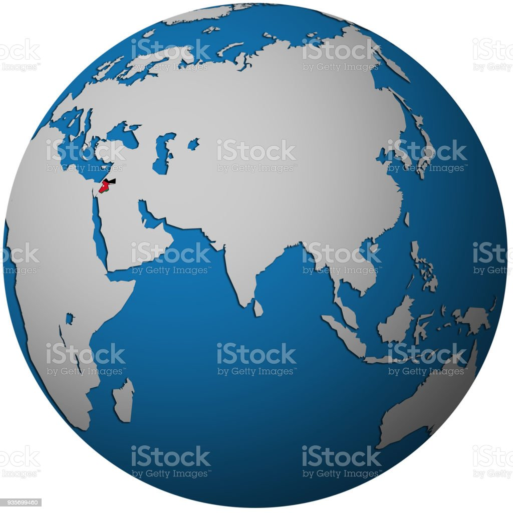 territory of jordan with flag on globe map royalty free territory of jordan with flag