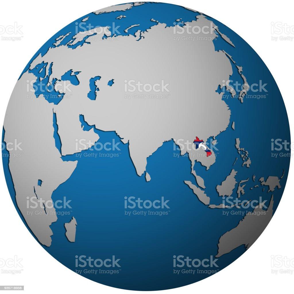 Carte Du Monde Laos.Territoire Du Laos Avec Le Drapeau Sur La Carte Du Monde Vecteurs