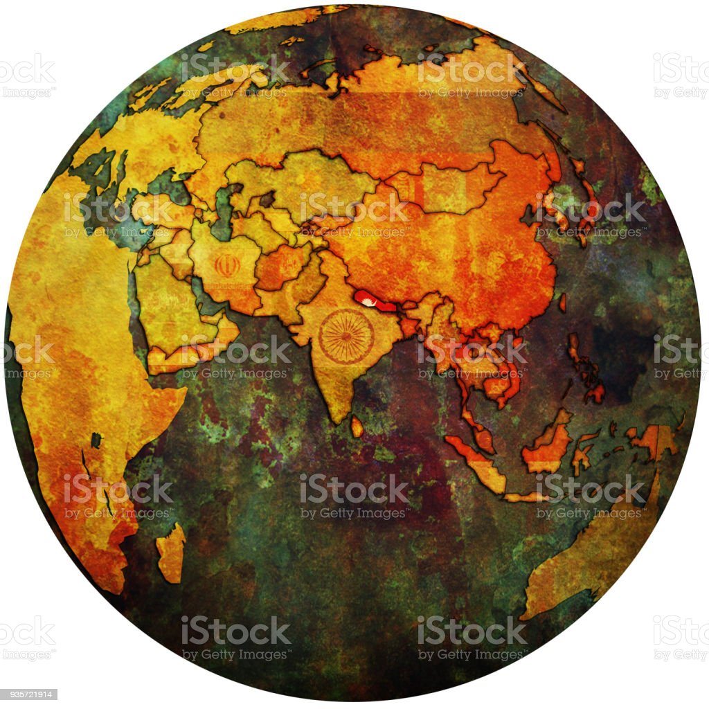 Territory Of Nepal With Flag On Globe Map Stock Vector Art More