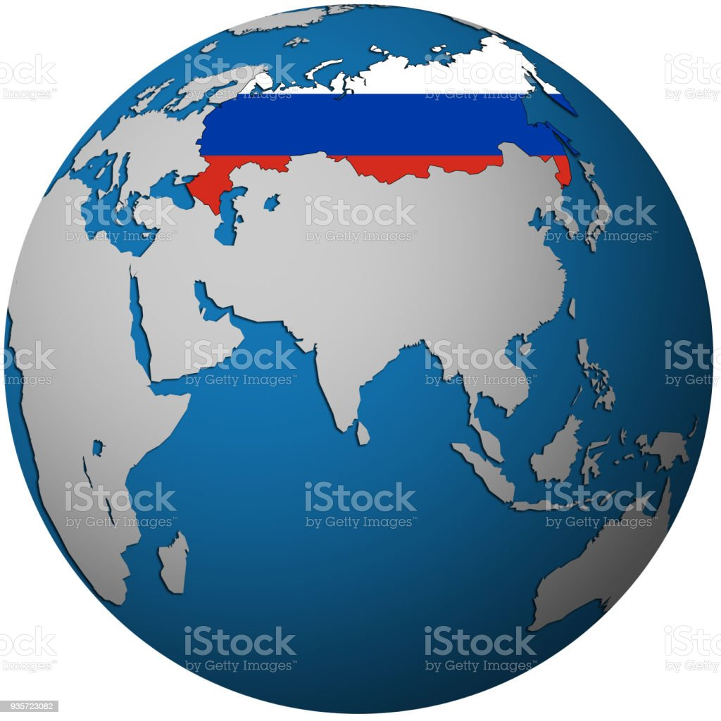 Territory of russia with flag on globe map stock vector art more territory of russia with flag on globe map royalty free territory of russia with flag gumiabroncs Choice Image