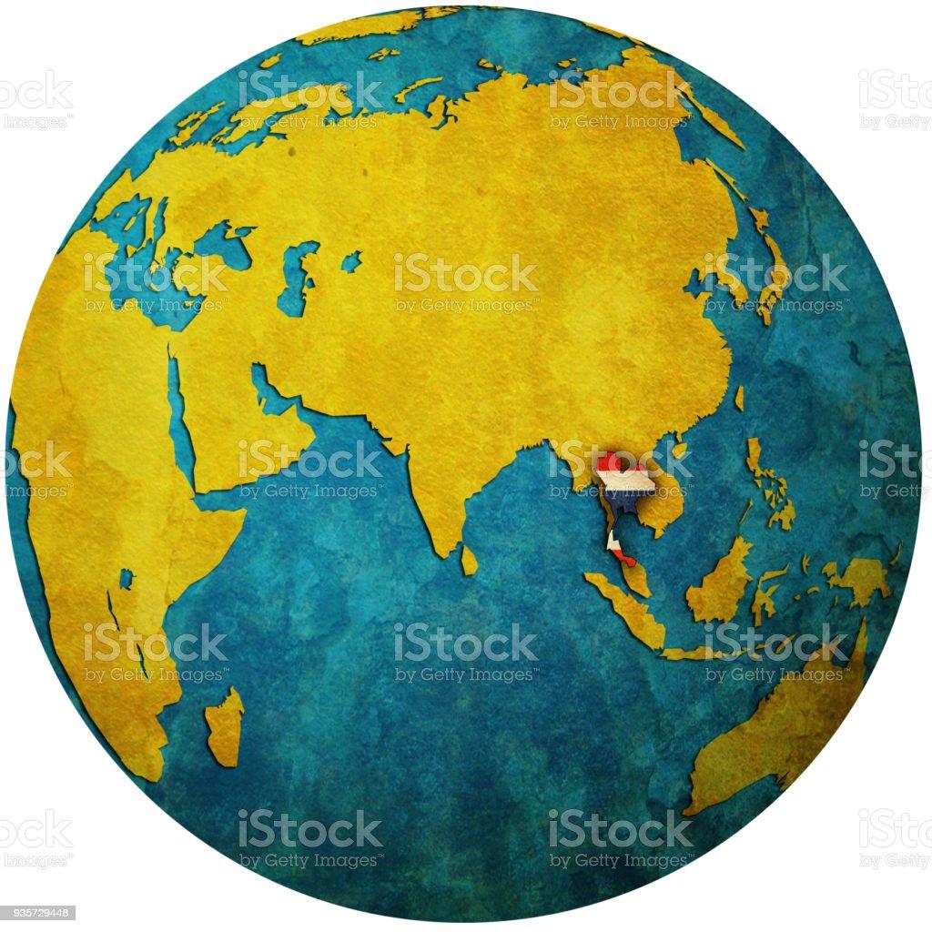 Thailande Carte Geographique Monde.Territoire De La Thailande Avec Le Drapeau Sur La Carte Du