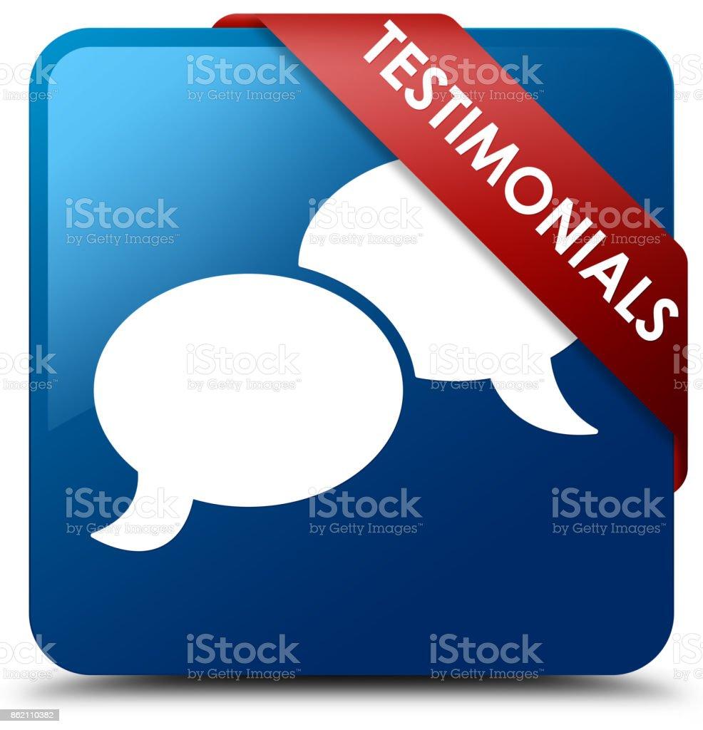 Testimonials Blue Square Button Red Ribbon In Corner Stock Vector