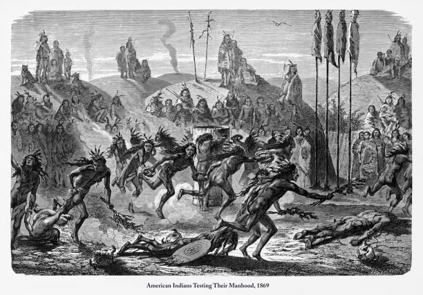 Teste sua masculinidade, índios americanos da gravura, 1869 - ilustração de arte em vetor