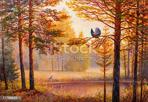 Capercaillie (Tetrao urogallus) male in the central European forest. Oil painting landscape , sunset summer forest, beautiful river.