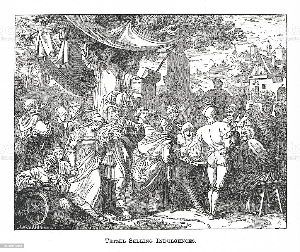 Tetzel Selling Indulgences (antique engraving) vector art illustration
