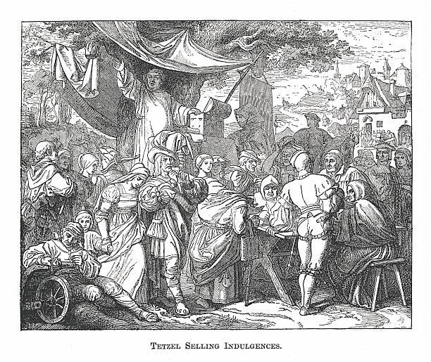 Tetzel Selling Indulgences (antique engraving) vector art illustration