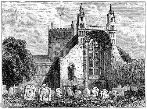 Tewkesbury Abbey at the town of Tewkesbury in Gloucestershire, England. Vintage etching circa 19th century.
