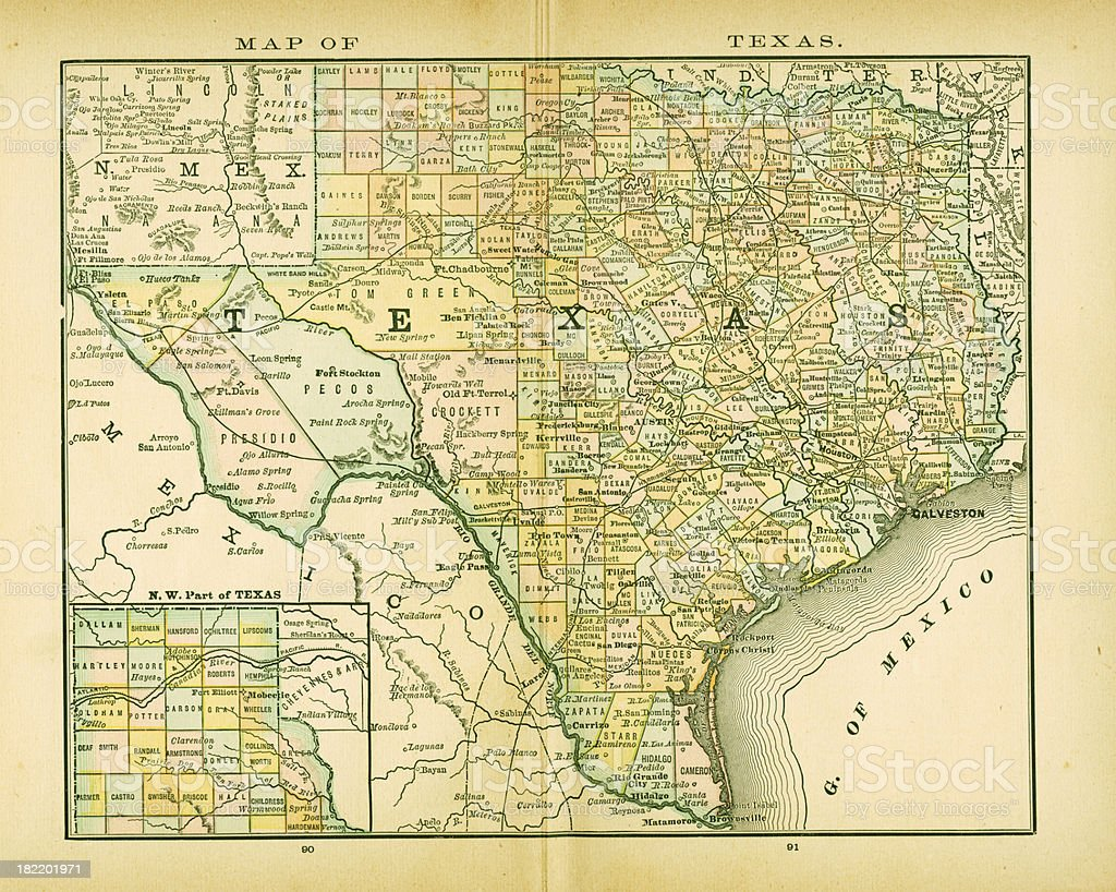 Texas Usa Antique Maps High Resolution Stock Vector Art - Usa map high resolution