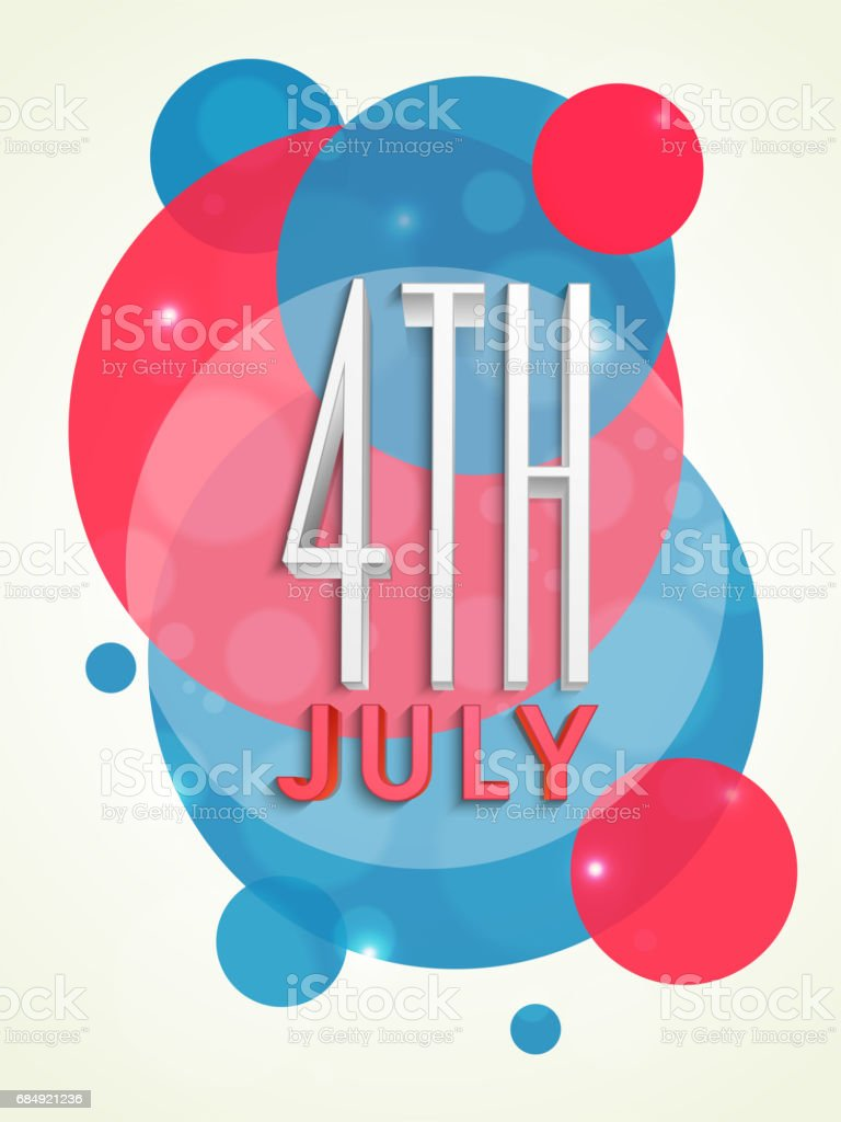 3d Text 4th Of July On Abstract National Flag Color Background For ...