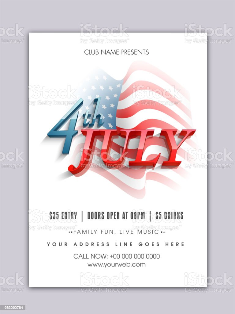 3d text 4th of july on waving american flag background template banner flyer