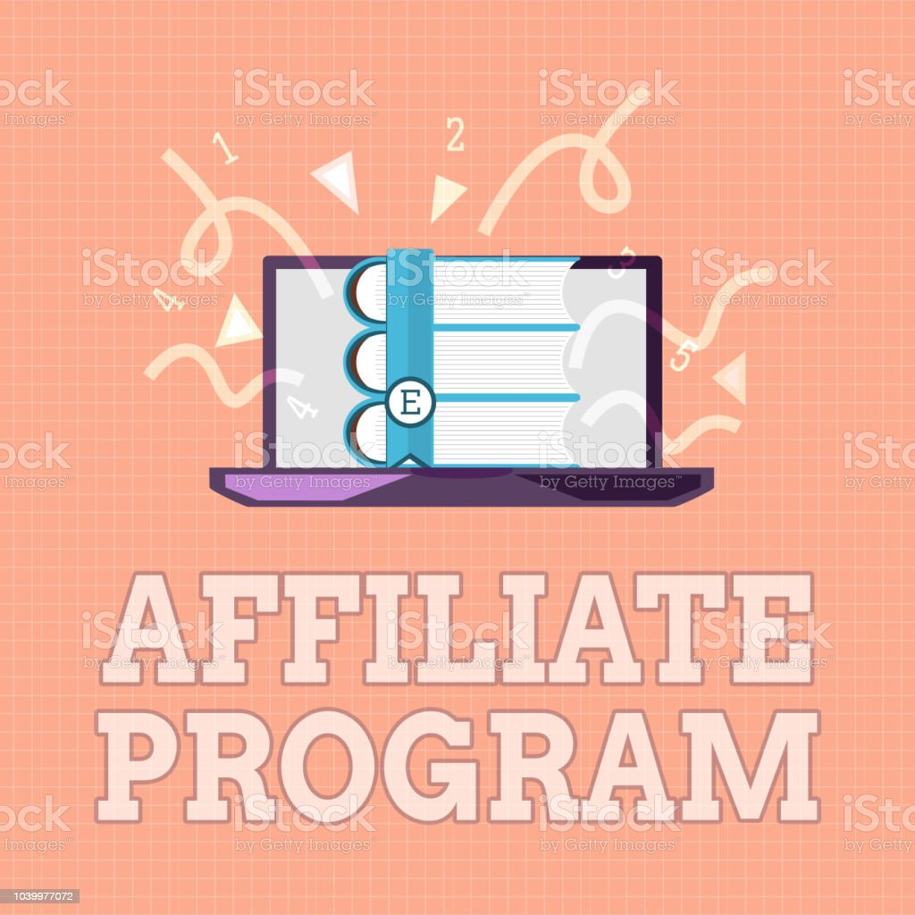 Text sign showing Affiliate Program. Conceptual photo Automated platform of two or more parties Associated vector art illustration