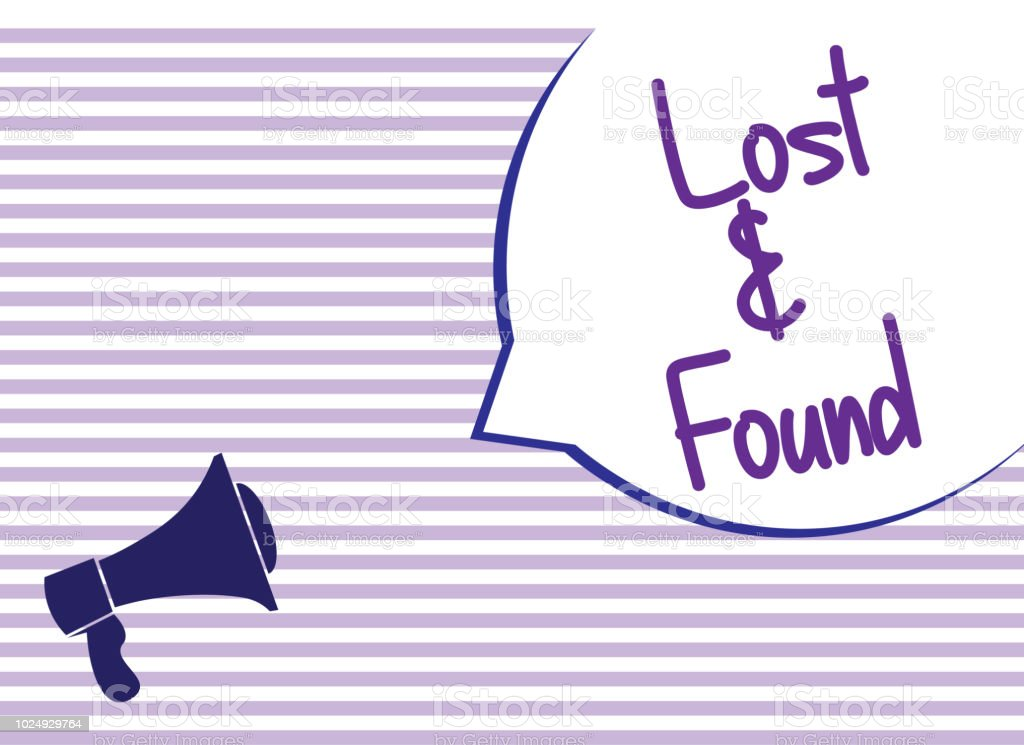 text sign showing lost and found with megaphone stock vector art