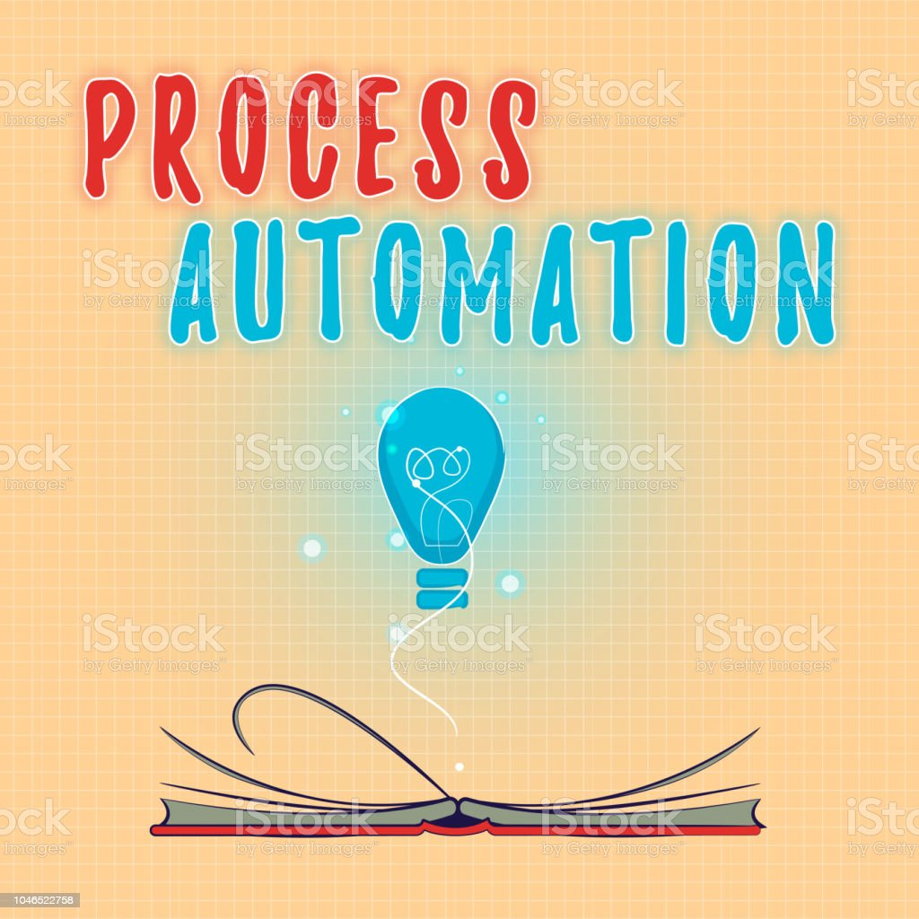 Text sign showing Process Automation. Conceptual photo Transformation Streamlined Robotic To avoid Redundancy vector art illustration