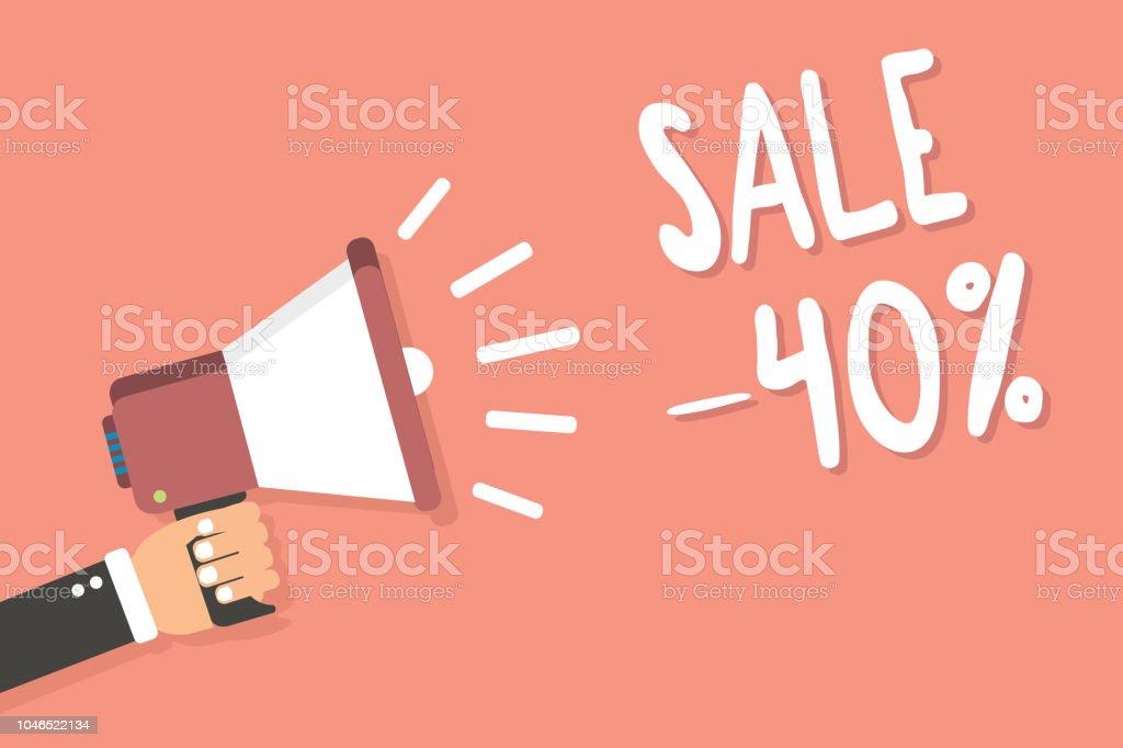 Sinal de texto mostrando a venda 40. Conceitual de um preço promocional de um item em 40 por cento de desconto homem foto segurando a mensagem de fundo rosa de alto-falante megafone falando alto. - ilustração de arte em vetor