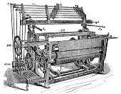 Illustration of a Textile industry machine - mechanical loom