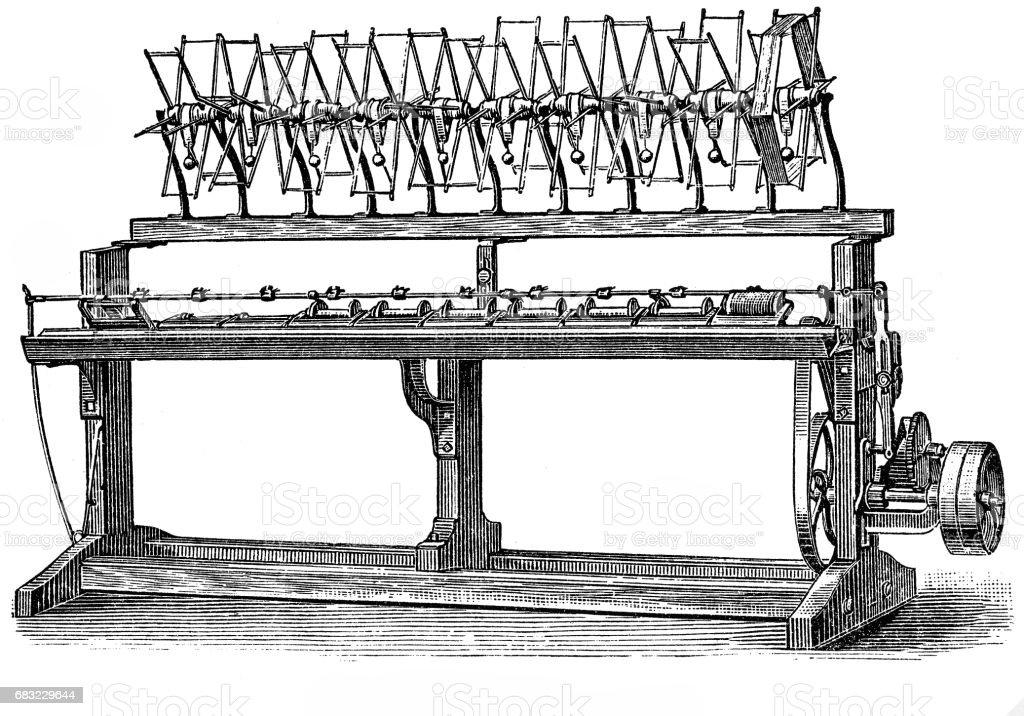 Textile industry retro machinery 免版稅 textile industry retro machinery 向量插圖及更多 19世紀風格 圖片