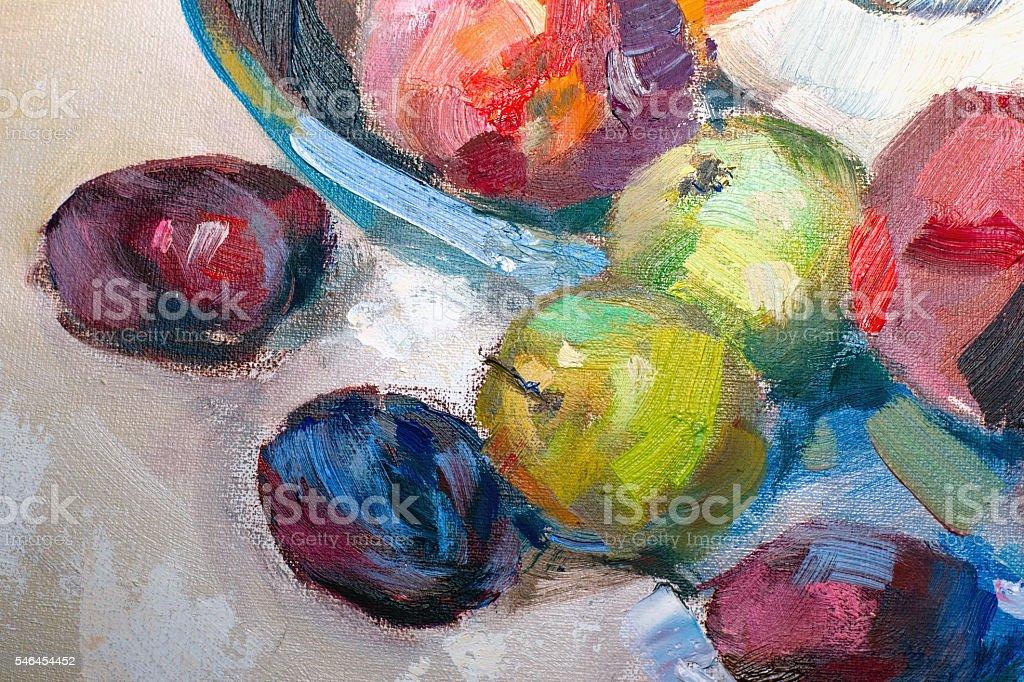 Texture painting oil painting on canvas, abstract oil still life vector art illustration