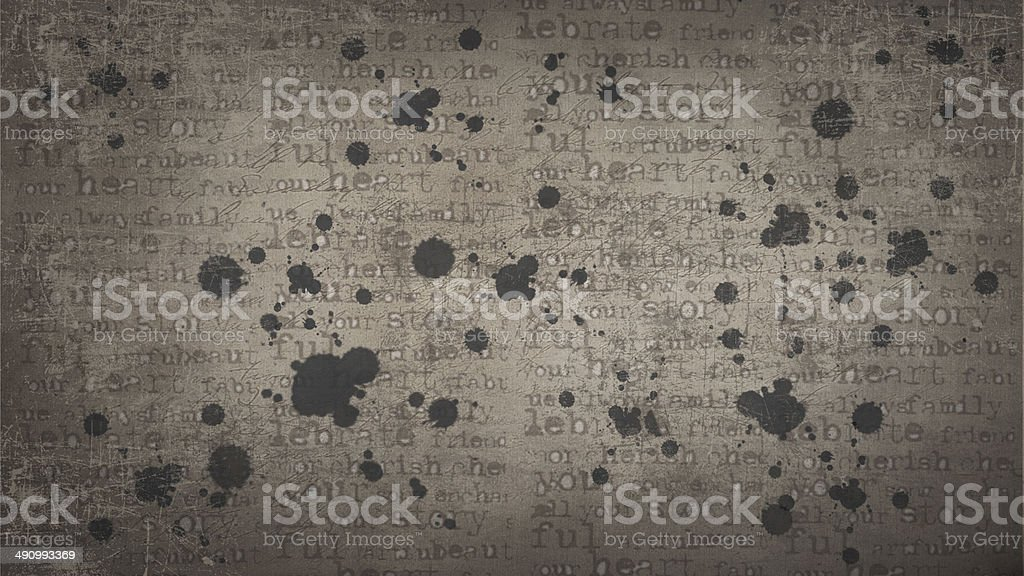 Texture with printed letters and blots. vector art illustration