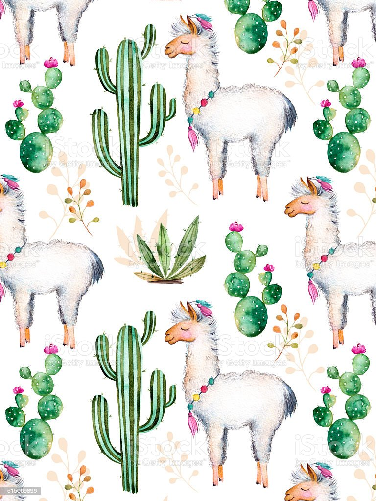 Texture with watercolor cactus plants,flowers and lama vector art illustration