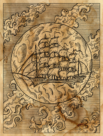 Textured marine illustration with old sailing ship or sailboat against full moon and clouds.