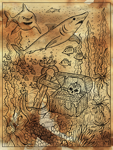Textured marine illustration with treasure chest on sea bottom, sharks and old anchor.