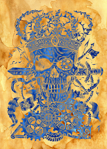 Textured styled illustration of scary skull wearing crown, with sword, banner and steampunk wheel and cogs.