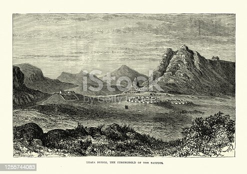 Vintage illustration of Thaba Bosigo, Stronghold of the Basotho (Sotho people), 19th Century. The Sotho people, or Basotho, are a Bantu ethnic group of Southern Africa who speak Sesotho. They are native to modern Lesotho and South Africa.
