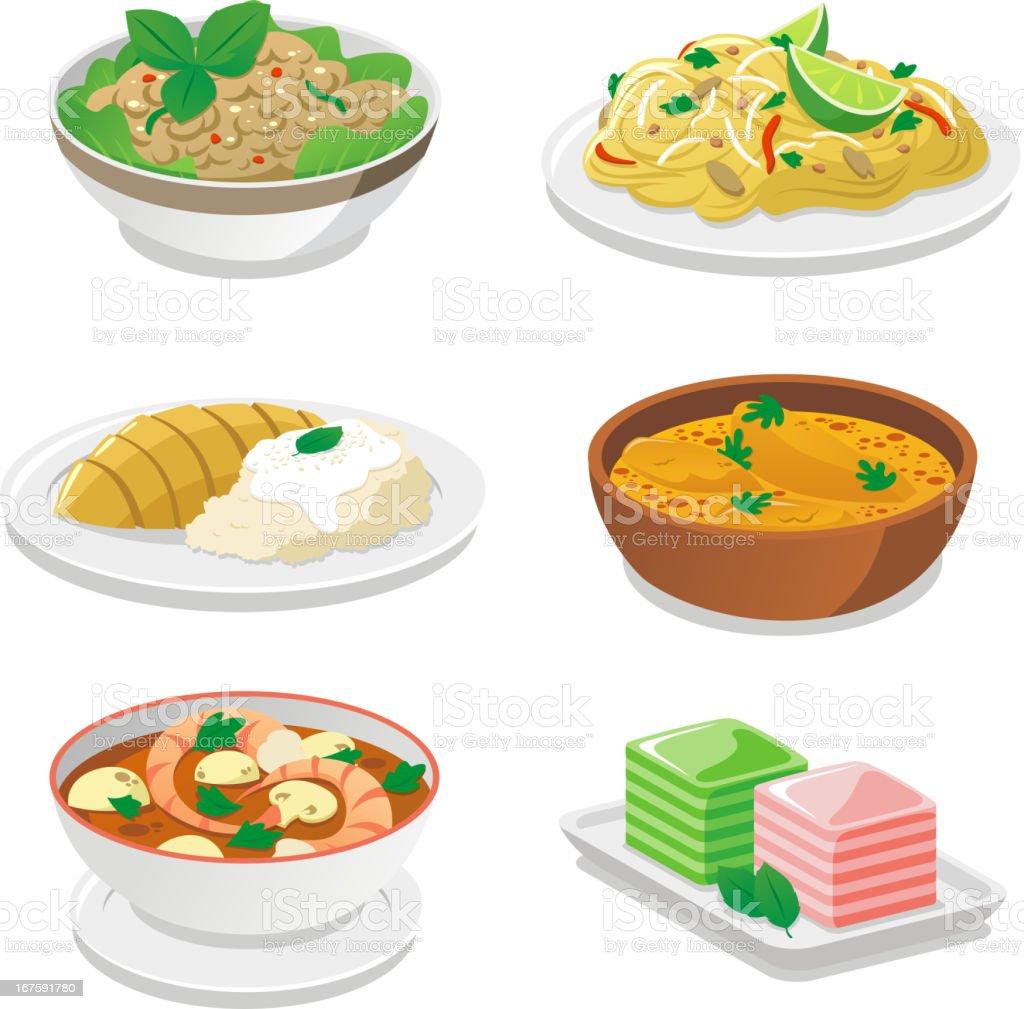 Pratos tailandeses - ilustração de arte em vetor