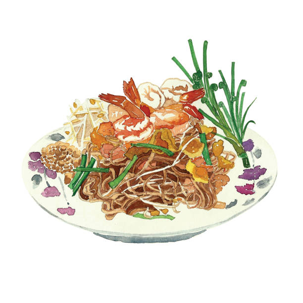 thai fried noodles. watercolor painting by hand. created without reference image - thai food stock illustrations, clip art, cartoons, & icons