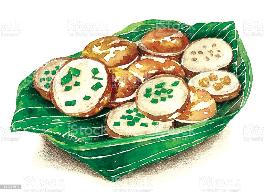Thai sweetmeat . Painting by hand. Created with reference image.water color painting by myself. vector art illustration