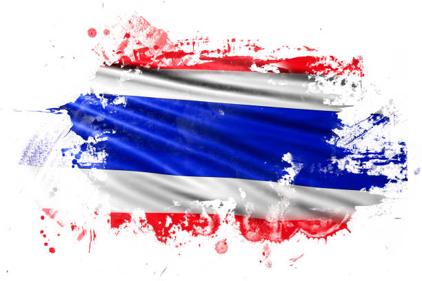 thailand ink grunge flag - thai flag stock illustrations, clip art, cartoons, & icons