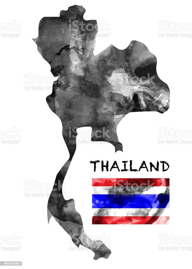 Carte Thailande Noir Et Blanc.Peinture A Lencre Carte Thailande En Aquarelle Couleur Noir