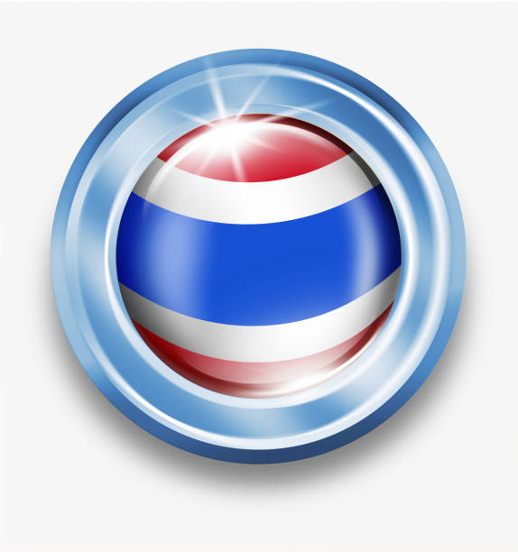 タイの国旗が白で隔離とタイのシルバー ボタン ベクターアートイラスト