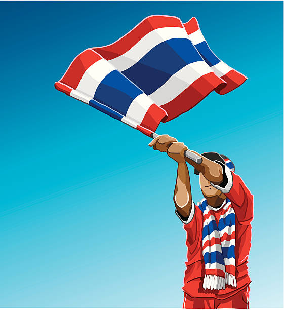 """Thailand Waving Flag Soccer Fan """"Vector Illustration of a Thai soccer fan. The background is on a separate layer, so you can use the illustration on your own background. The colors in the .eps and .ai-files are ready for print (CMYK). Included files: EPS (v8), AI (CS2) and Hi-Res JPG."""" soccer stock illustrations"""