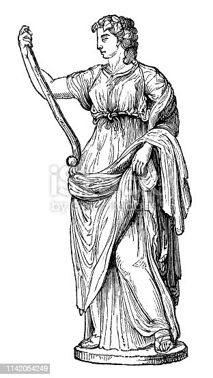 Thalia the Ancient Greek muse of comedy from the Works of William Shakespeare. Vintage etching circa mid 19th century.