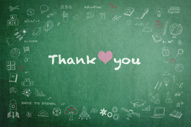 Thank you day announcement on green chalkboard with doodle Thank you day announcement on green chalkboard with doodle thank you teacher stock illustrations