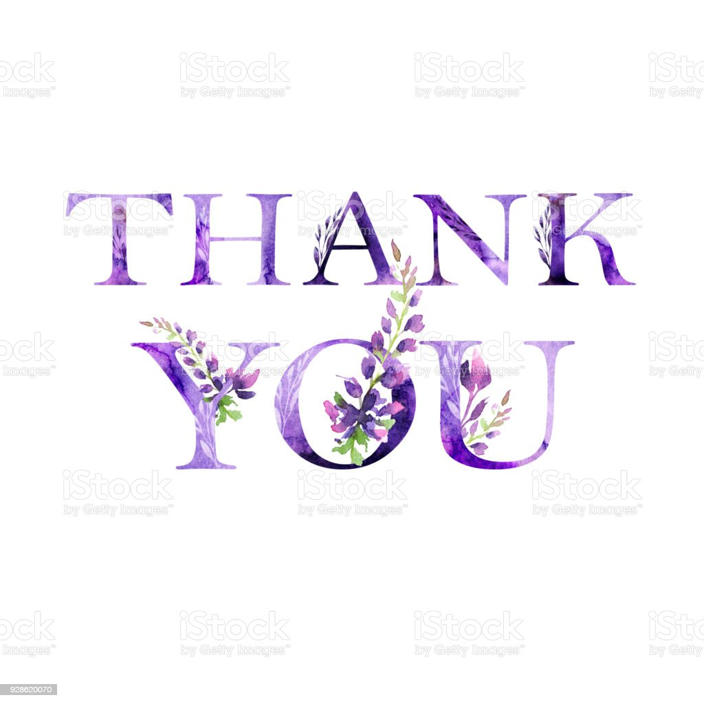 Thank You Floral Artistic Lettering Quote With Flowers Modern ...