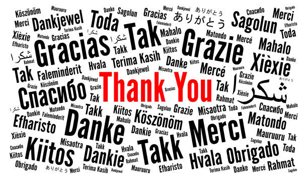 thank you illustration word cloud in different languages - thank you background stock illustrations