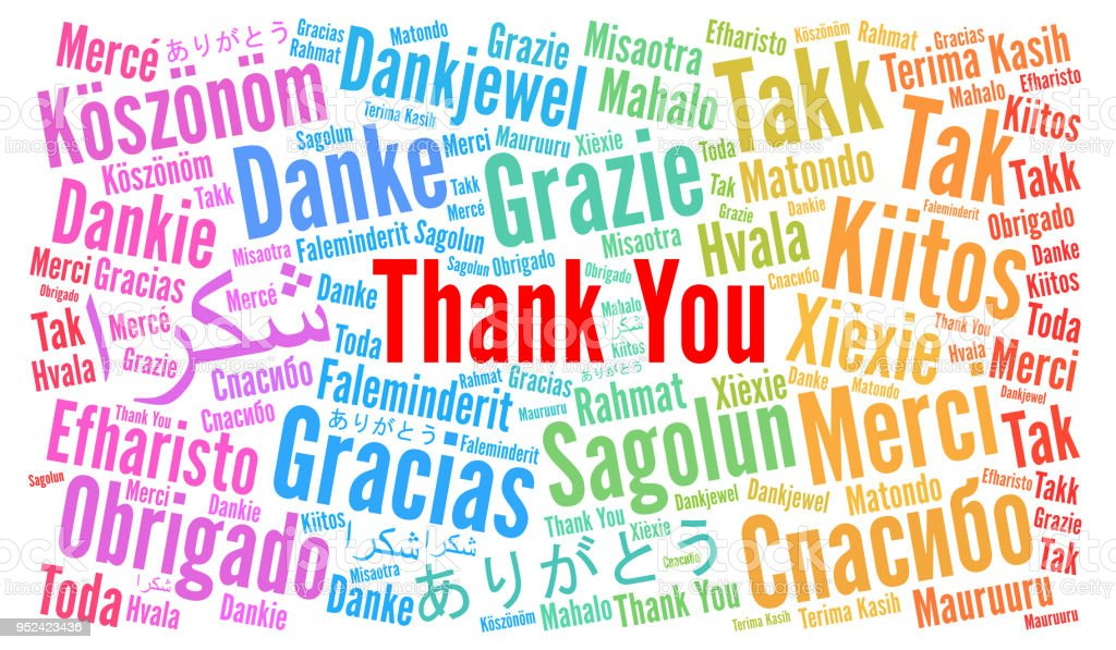 Thank You illustration word cloud in different languages vector art illustration
