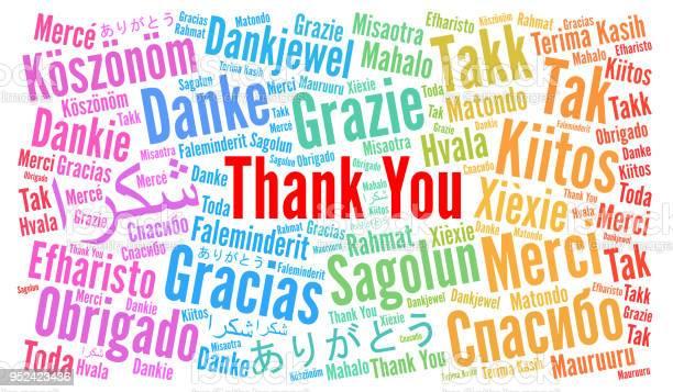 Thank You Illustration Word Cloud In Different Languages — стоковая векторная графика и другие изображения на тему Thank You - английское словосочетание