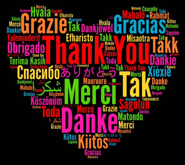 thank you in different languages word cloud - thank you background stock illustrations