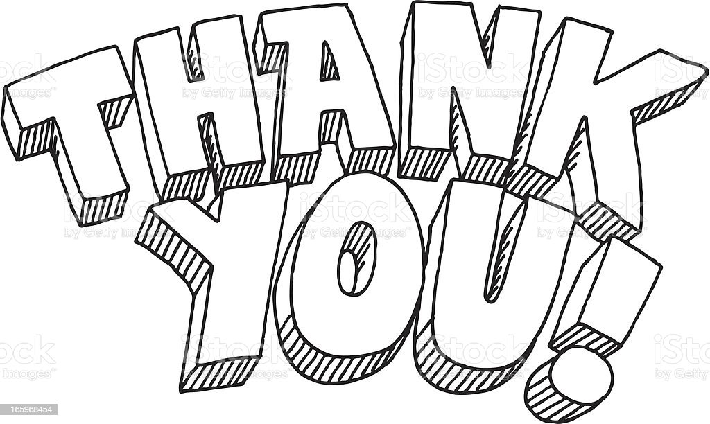 Line Art Thank You : Thank you lettering drawing stock vector art more images