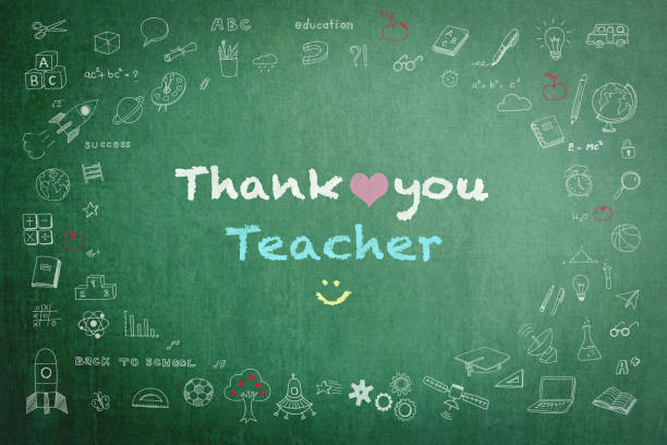 Thank you teacher with doodle on green chalkboard background Thank you teacher with doodle on green chalkboard background thank you teacher stock illustrations